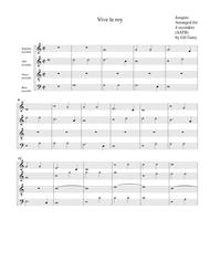 Vive le roy (arrangement for 4 recorders)
