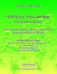 Lift Every Voice and Sing (for Saxophone Quartet SATB or AATB)