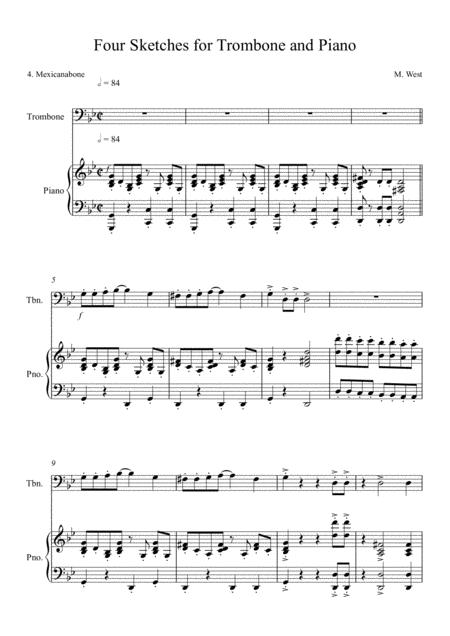 Four Sketches for Trombone & Piano - 4. Mexicanabone