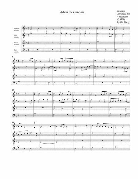 Adieu mes amours (arrangement for 4 recorders)
