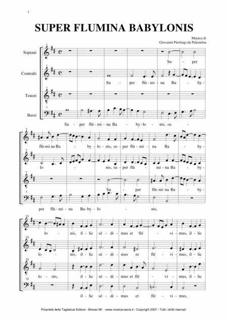 SUPER FLUMINA BABYLONIS - G.P. Palestrina -  Mottetto for SATB Choir