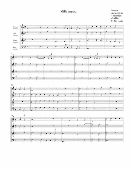 Mille regretz (arrangement for 4 recorders)