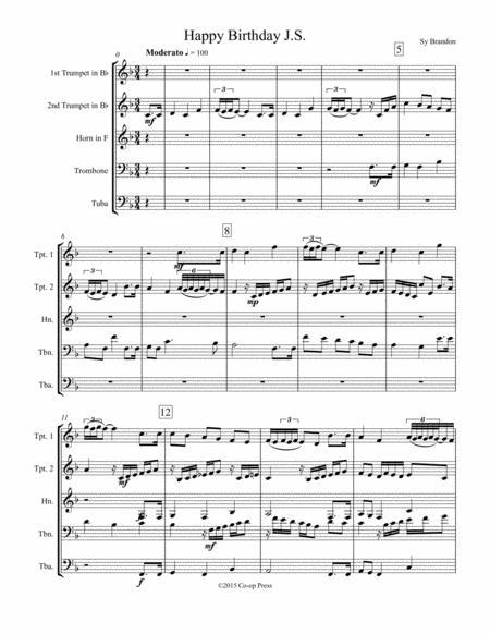 Happy Birthday J.S. for Brass Quintet