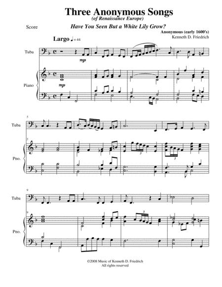 Download Three Anonymous Songs Of Renaissance Europe Sheet