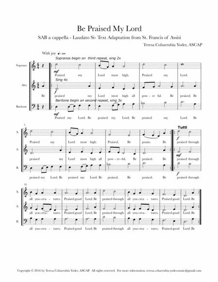 BE PRAISED MY LORD - SAB A CAPPELLA (With permission for unlimited copies for your choir)
