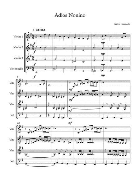 Adios Nonino (Astor Piazzolla) for 3 Violin and 1 Cello