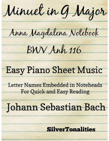 Minuet In G Major Anna Magdalena BWV Anh 116 Notebook Easy Piano Sheet Music