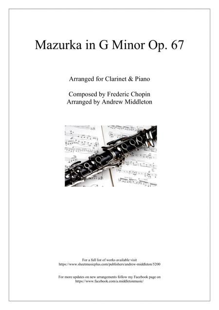 Mazurka in G Minor, Op. 67, No. 2 for Clarinet in B Flat and Piano