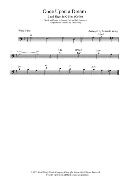 Download Once Upon A Dream Cello Solo In G Key With Chords Sheet