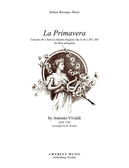Primavera (Spring) RV. 269 - complete score for flute solo and guitar (cello part ad lib.)