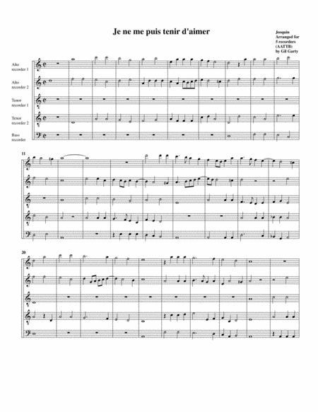Je ne me puis tenir d'aimer (arrangement for 5 recorders)