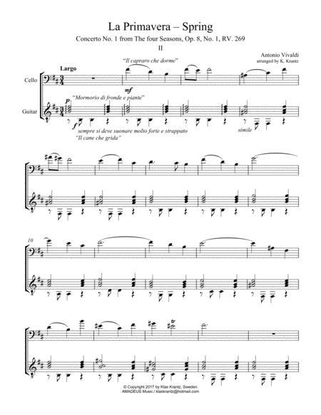 Largo (ii) from La Primavera (Spring) for cello and guitar