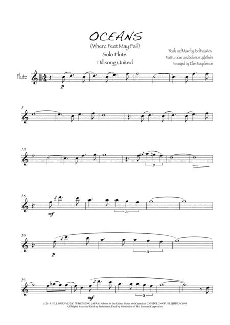 Download Oceans Where Feet May Fail Flute Solo Sheet Music By