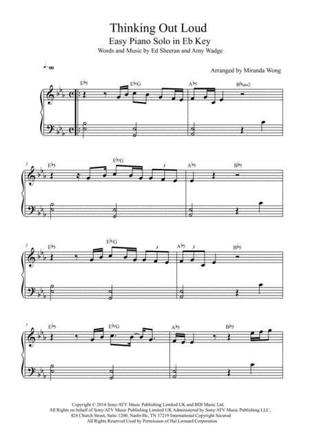 Download Thinking Out Loud Easy Piano Solo In Eb Key With Chords