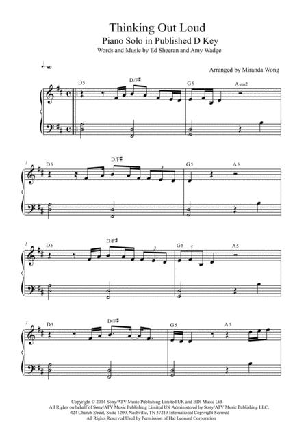 Thinking Out Loud - Easy Piano Solo in Published D Key (With Chords)