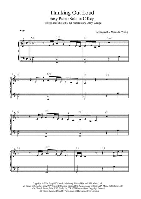 Download Thinking Out Loud Easy Piano Solo In C Key With Chords