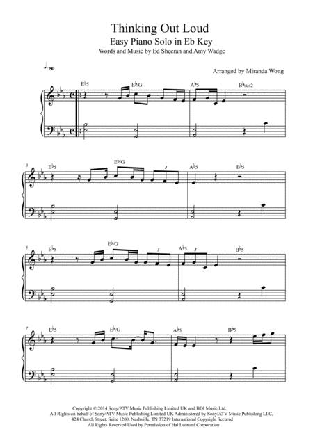 Thinking Out Loud - Easy Piano Solo in 3 Keys (With Chords)