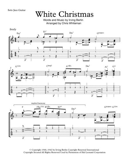 Download White Christmas Jazz Guitar Chord Melody Sheet Music By