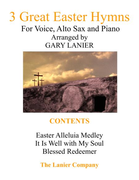 3 GREAT EASTER HYMNS (Voice, Alto Sax & Piano with Score/Parts)