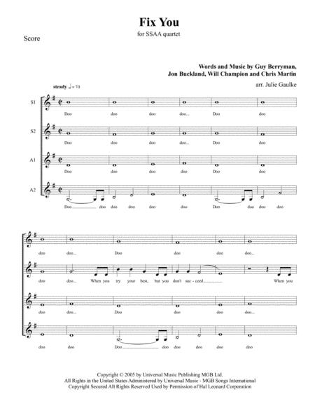 Fix You (Coldplay) for SSAA quartet, key of G