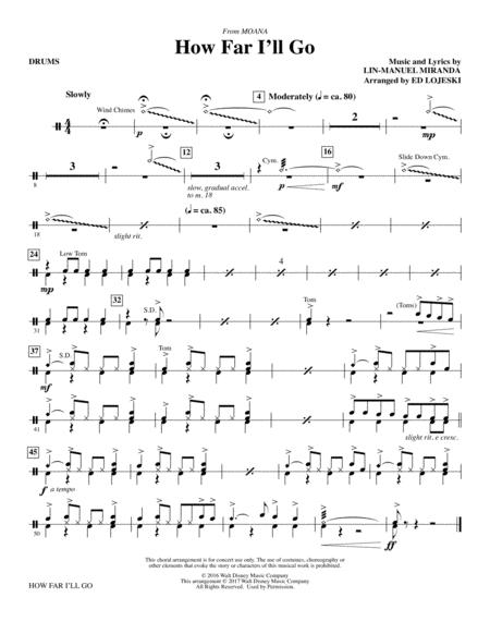 Download How Far I\'ll Go - Drums Sheet Music By Alessia Cara - Sheet ...