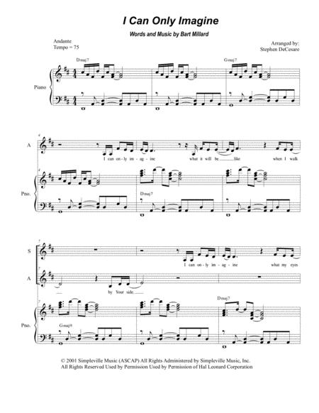 Download I Can Only Imagine (Duet For Soprano And Alto Solo) Sheet ...