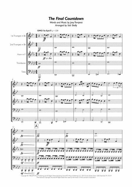 Europe - Final Countdown for Brass Quintet