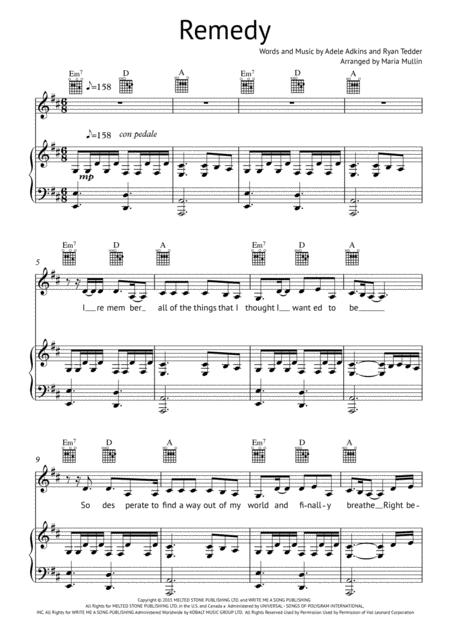 Download Remedy Piano Vocal Guitar Sheet Music By Adele Sheet