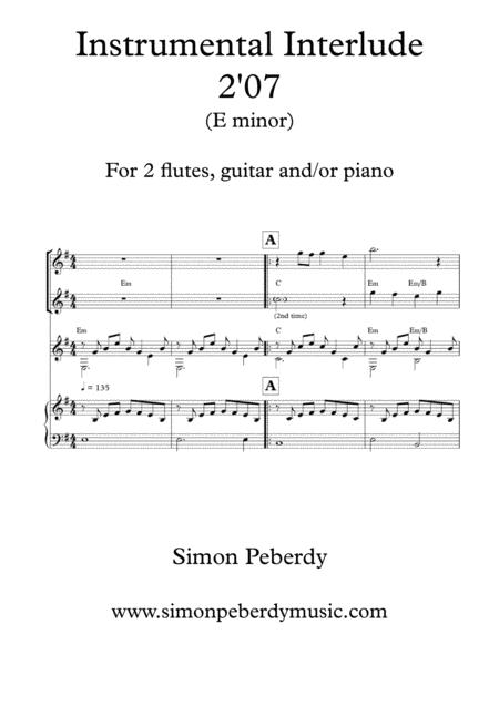 Melodious Instrumental Interlude 2'07 in E minor for 2 flutes, guitar and/or piano by Simon Peberdy