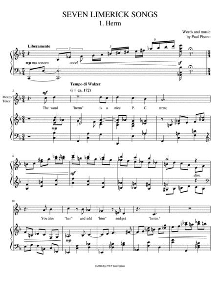 SEVEN LIMERICK SONGS: Complete Cycle for Medium High Voice and Piano
