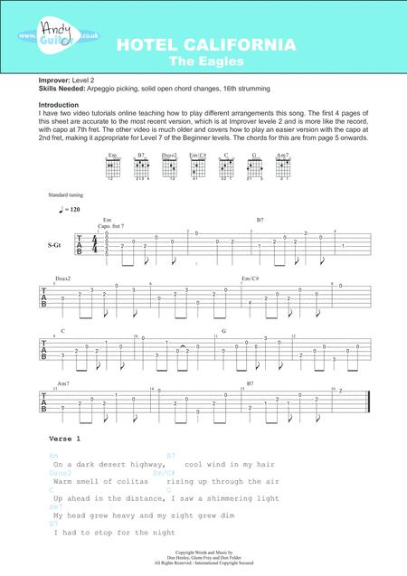 Download Hotel California Sheet Music By The Eagles Sheet Music Plus