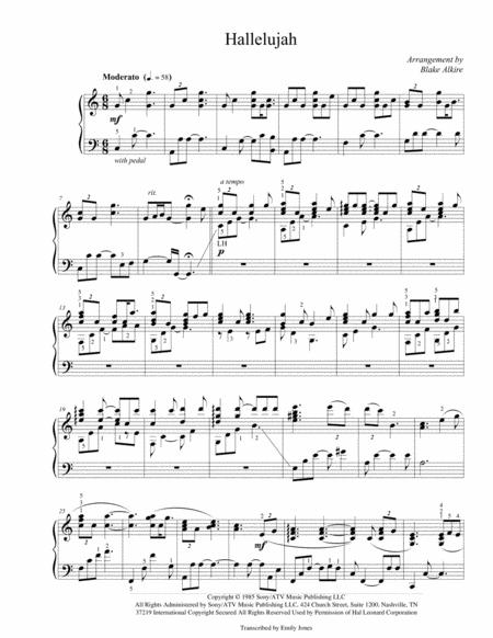 Christmas Hallelujah Sheet Music.Hallelujah Advanced Piano Arrangement By Leonard Cohen