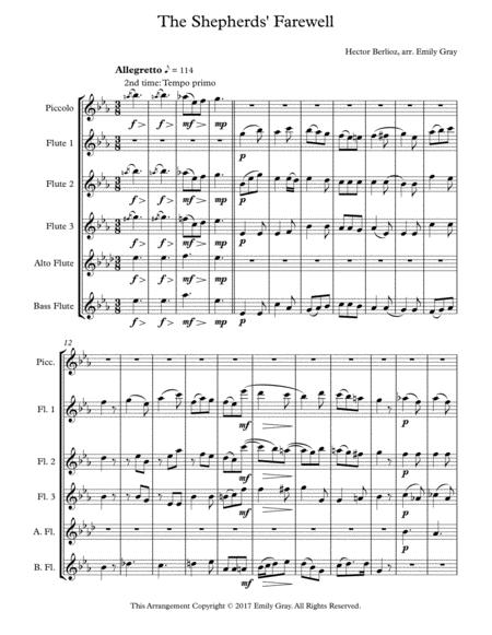The Shepherds' Farewell for Flute Choir (Score)