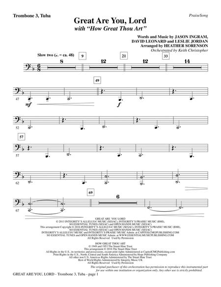 Great Are You Lord (with How Great Thou Art) - Trombone 3/Tuba