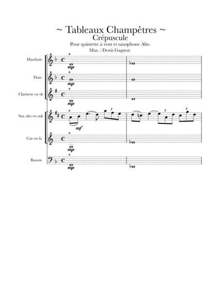 Tableaux champêtres (Crépuscule) / Score et 6 partitions pour quintette à vent et un saxophone