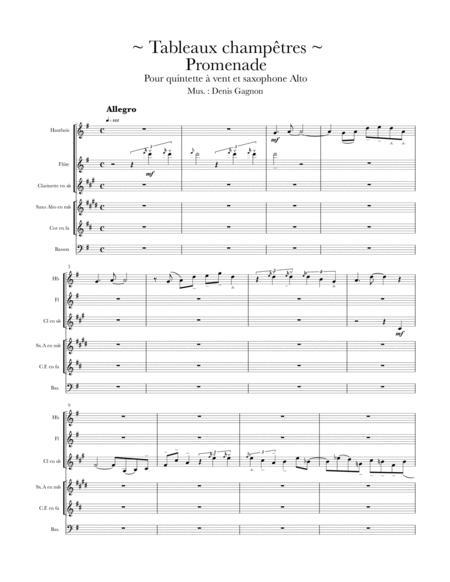 Tableaux champêtres (Promenade) / Score et 6 partitions pour quintette à vent et un saxophone alto