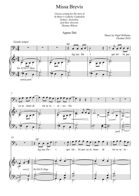 Agnus Dei (Missa Brevis for unison baritone voices)
