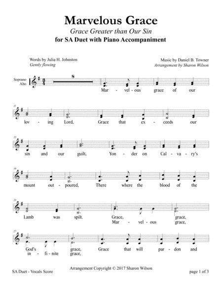 Marvelous Grace (SA Duet with Piano Accompaniment)