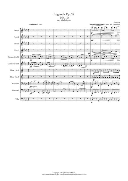 Dvorak: Legends Op.59 Mvt.10 in Gb minor - wind dectet (opt.bass)