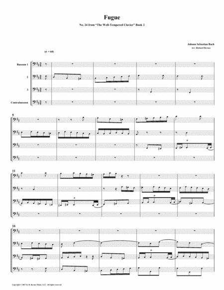 Fugue 24 from Well-Tempered Clavier, Book 2 (Bassoon Quartet)