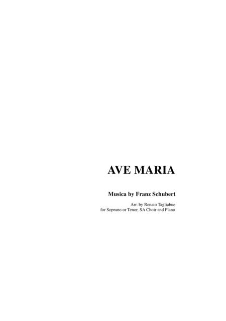 AVE MARIA by Schubert - Arr. for Soprano or Tenor, SA Choir (Vocalization) and Piano