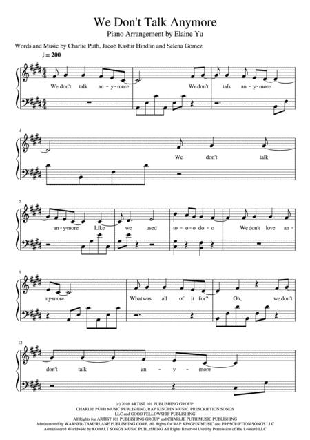 Download We Don\'t Talk Anymore Sheet Music By Charlie Puth Feat ...