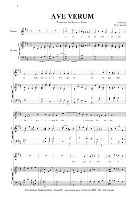 AVE VERUM - Mozart - Arr. for Soprano (or Tenor) and Organ