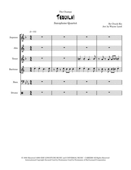Tequila (for Sax Quartet) FREE Sheet Music Notes Preview