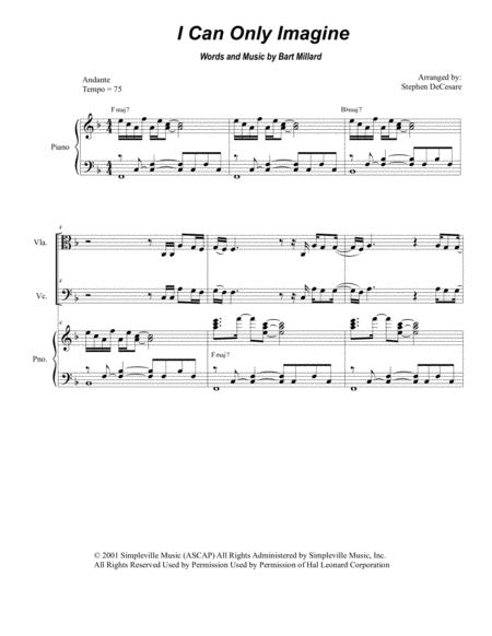 Download I Can Only Imagine (for String Quartet) Sheet Music By ...