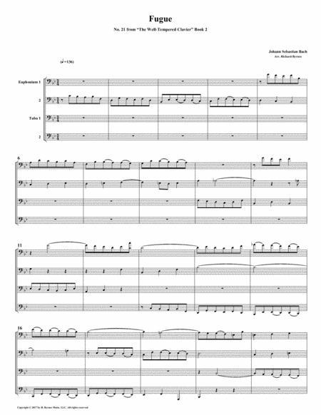 Fugue 21 from Well-Tempered Clavier, Book 2 (Euphonium-Tuba Quartet)