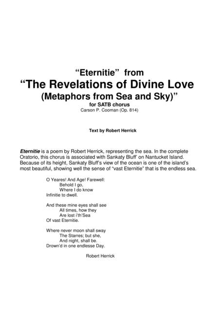 "Carson Cooman: ""Eternitie"" from ""The Revelations of Divine Love (Metaphors from Sea and Sky)"" for SATB chorus"