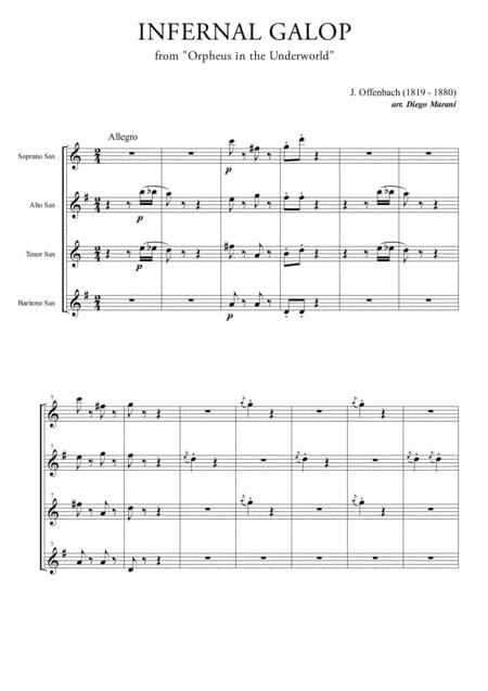 Infernal Galop (Can Can) for Saxophone Quartet