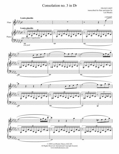 Liszt - Consolation in D flat; transcribed for flute and piano