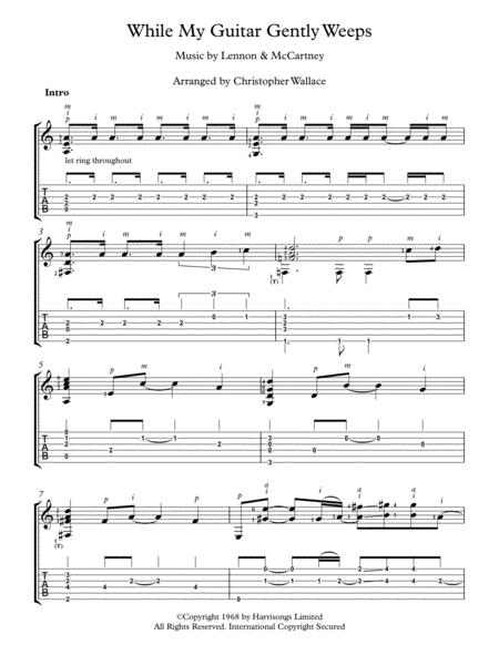 While My Guitar Gently Weeps- Arranged for Solo Guitar